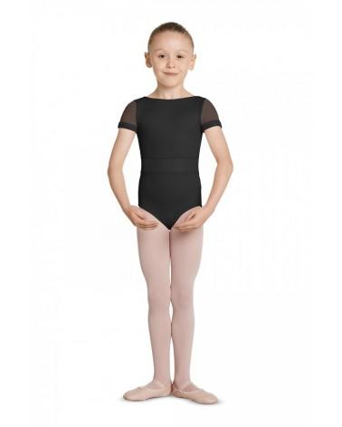 Malla de Ballet Infantil Negro Manga Corta