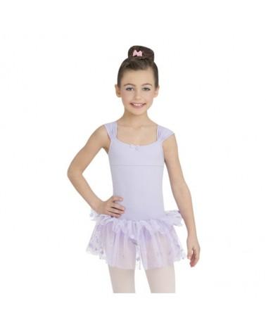 Vestido Infantil Morado con purpurina de Baile